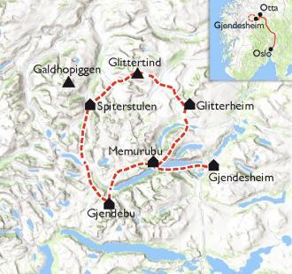 Carte Tour du Jotunheimen, le royaume des géants