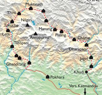 Carte Le Grand Tour de l'Annapurna