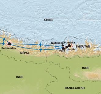 Carte Népal/ Bhoutan - De la vallée de Katmandou au pays du Dragon
