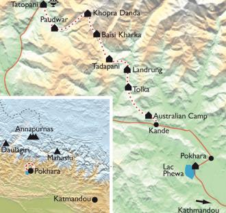 Carte Annapurnas, le Trek de Khopra Danda
