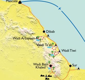 Carte Canyons, dunes et wadis du Jebel Hajar