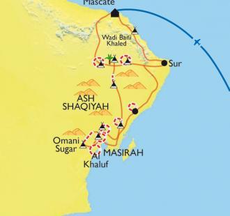 Carte Du désert à l'océan, des Wahibas à Sugar Dunes