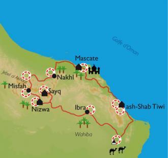 Carte Le sultanat d'Oman entre déserts et wadis