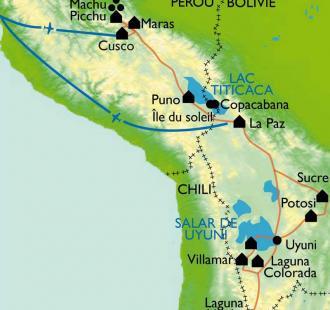 Carte Des cités incas au désert de l'Altiplano.