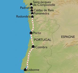 Carte La Via Lusitana, de Lisbonne à Santiago
