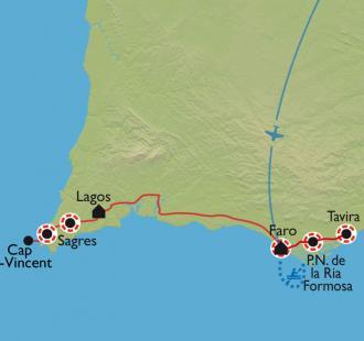 Carte Randonnées et baignades en Algarve