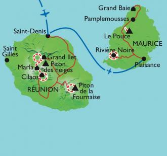 Carte îles des Mascareigne