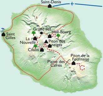 Carte 3 cirques et 2 volcans