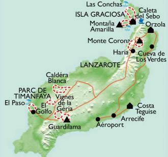 Carte Lanzarote, des volcans sur l'Océan