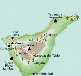 Carte Tenerife, l'île de l'éternel printemps