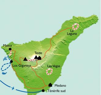 Carte Tenerife/Gomera, volcan endormi et dauphins joueurs