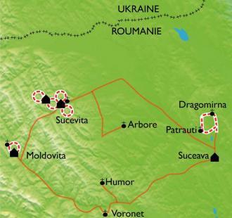 Carte Monastères et villages de Bucovine