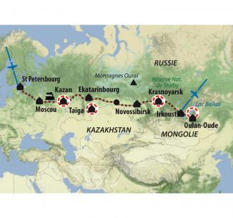 Carte Le transsibérien de Moscou à Vladivostock