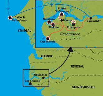 Carte Rando-pirogue en Casamance