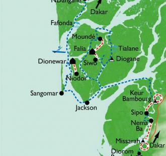 Carte Rando-bateau dans le Siné Saloum