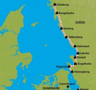 Carte Suède, Véloroute de la Mer du Nord
