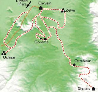 Carte Sentiers de Cappadoce