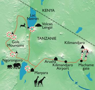 Carte Du Kilimandjaro aux grands parcs du pays Masaï