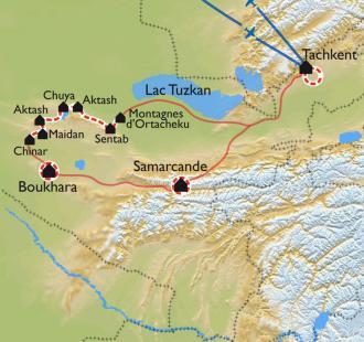 Carte Ouzbékistan, la route de la soie à VTT, version longue