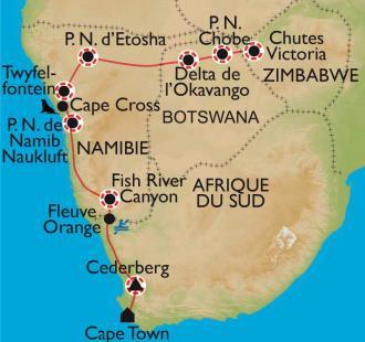 Carte Afrique du sud, Namibie, Botswana et Zimbabwe. Expédition australe