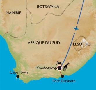 Carte Afrique du Sud, VTT et découverte du Cap Oriental.