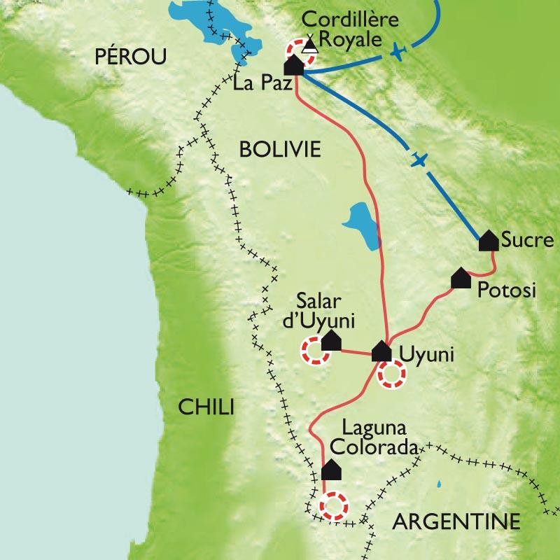Itinéraire Salars et la cordillère Royale