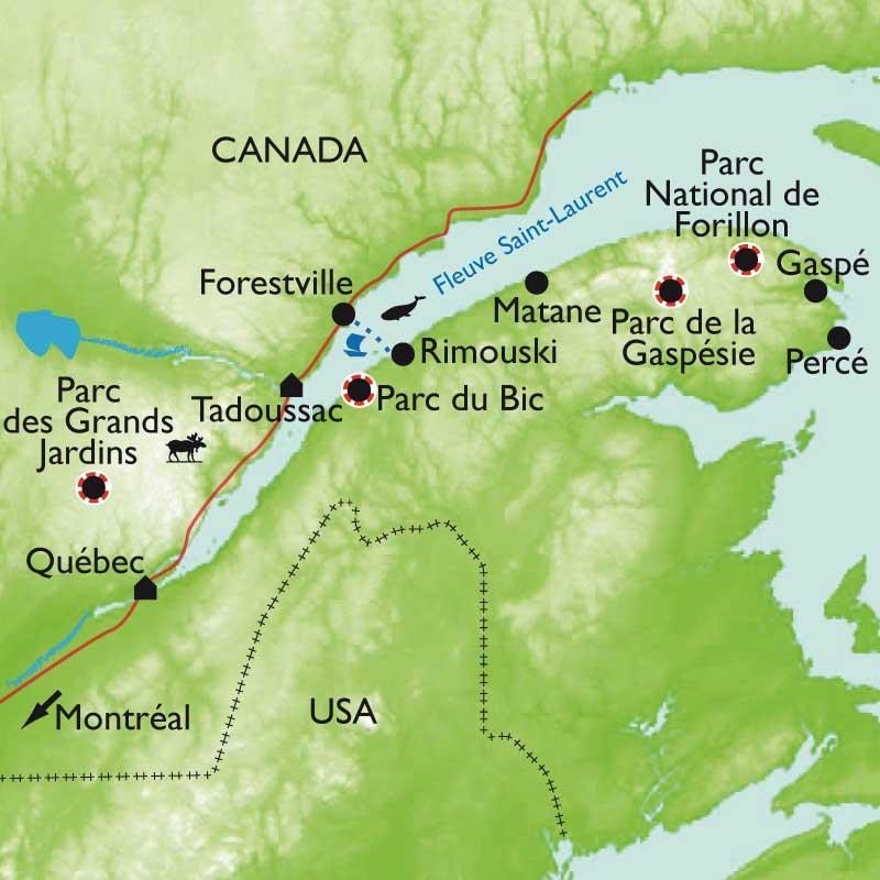Itinéraire Québec, baleines et caribous