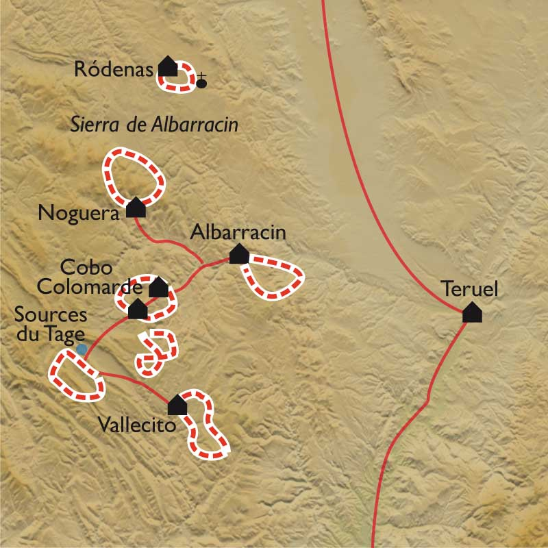 Carte Teruel et Albarracìn, les Monts Universels
