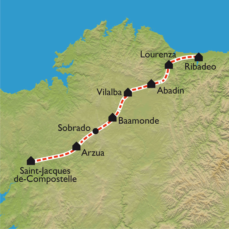 Itinéraire De Ribadeo à Santiago de Compostela, par le Camino Norte