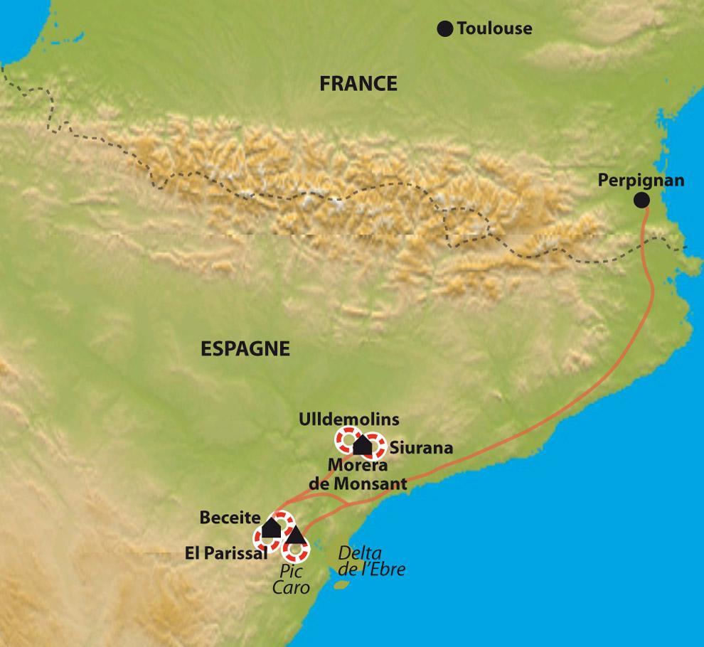 Itinéraire De Beceite au Delta de l'Ebre, des sierras aragonaises à la mer