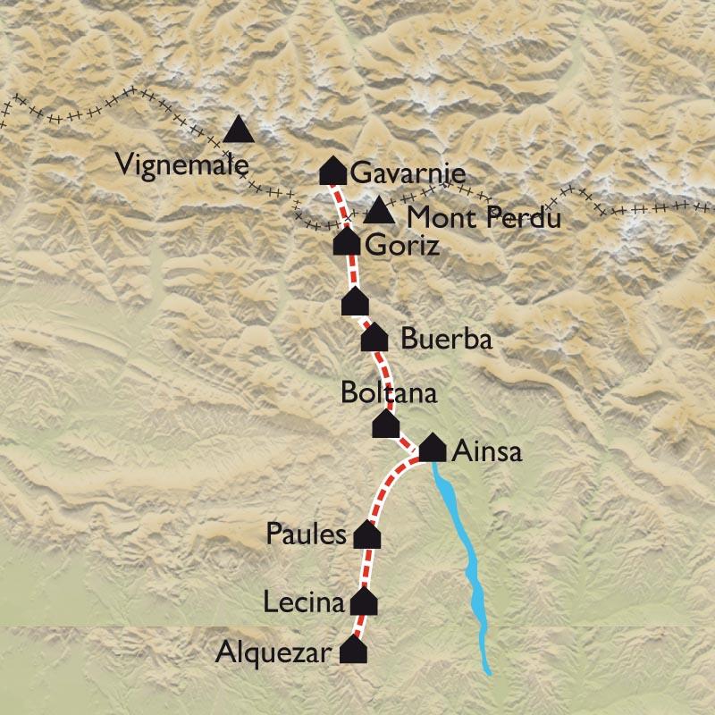 Itinéraire De Gavarnie à la Sierra de Guara, de la haute-montagne aux champs d'oliviers