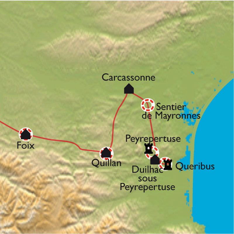 Itinéraire De Carcassonne à Montségur, balades découverte en Pays Cathare
