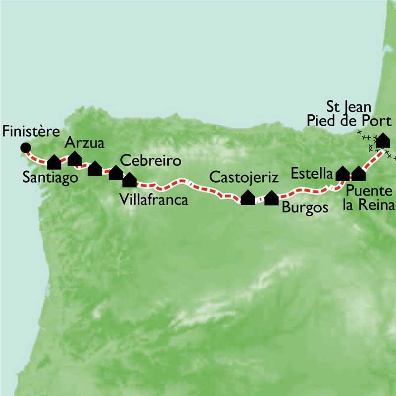 Itinéraire Le Chemin de St Jacques, à pied et en bus, St-Jean-Pied-de-Port à Santiago
