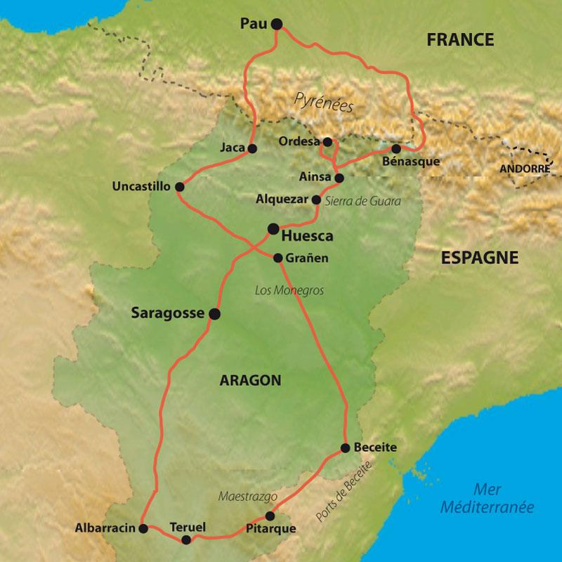 Itinéraire Trésors d'Aragon, des Pyrénées à Albarracin