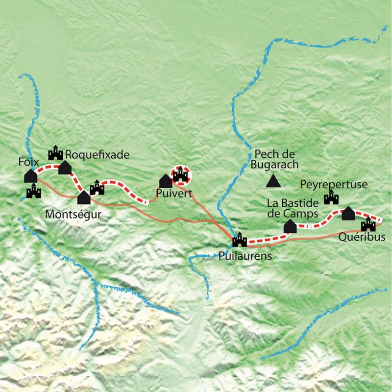 Itinéraire Pays Cathare,  itinérance de Quéribus à Montségur