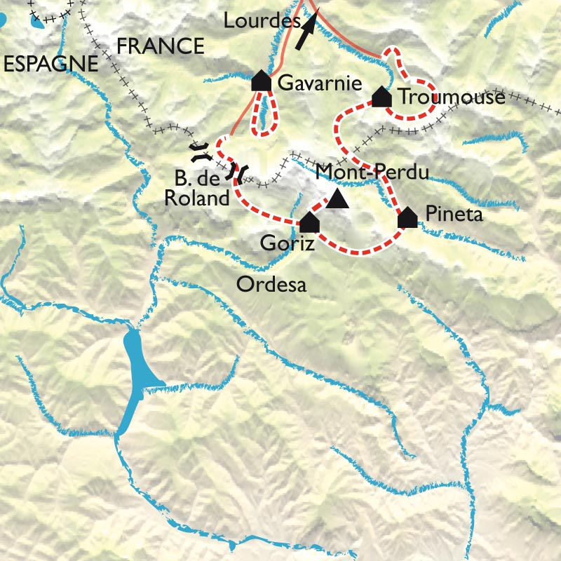 Carte Le tour et l'ascension du Mont Perdu