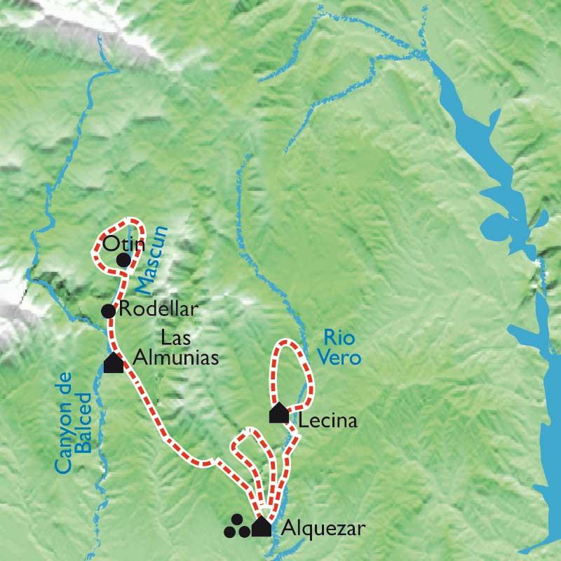 Itinéraire Tour de la Sierra de Guara, randonnée au-dessus des rapaces