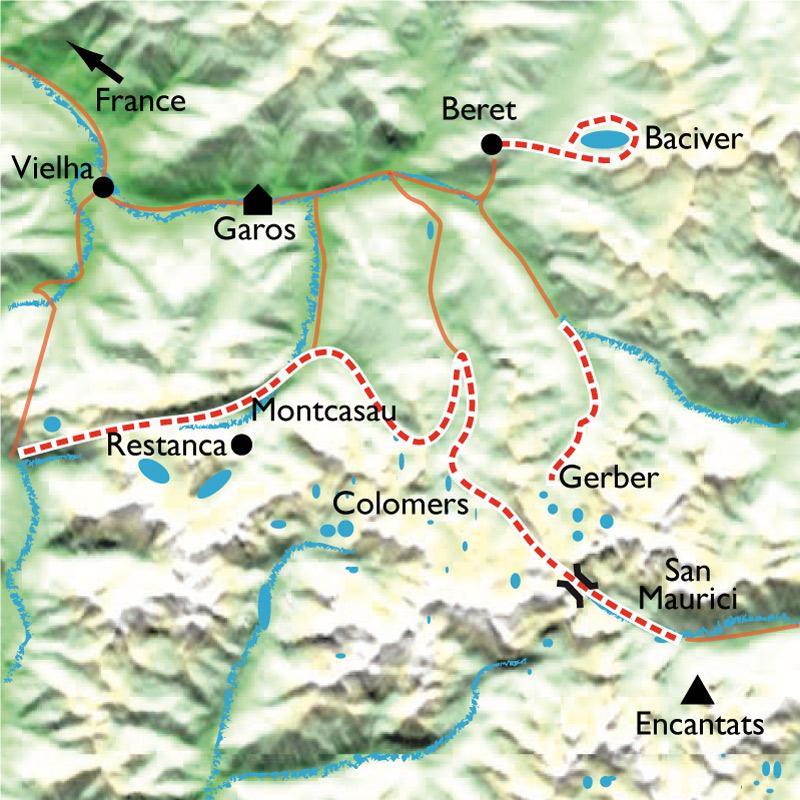 Itinéraire Traversée douillette des Encantats, de lacs en lacs
