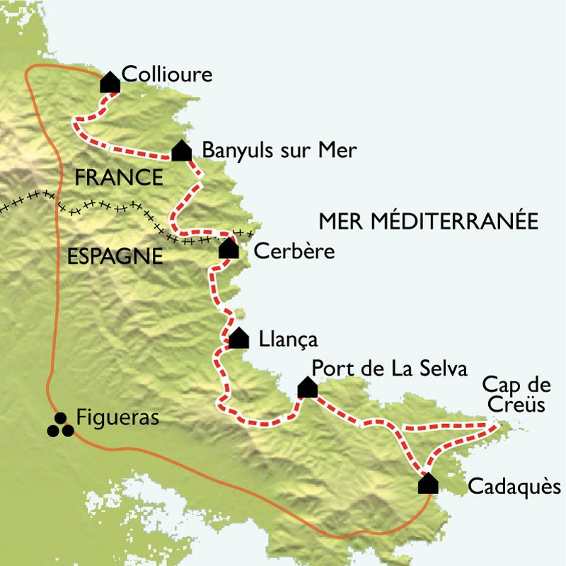 Itinéraire Collioure - Cadaquès, La Côte Vermeille de criques en sommets