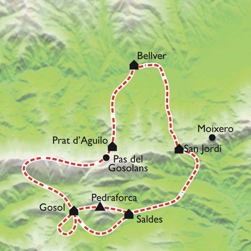 Itinéraire Tour de la Sierra de Cadi, et Pedraforca
