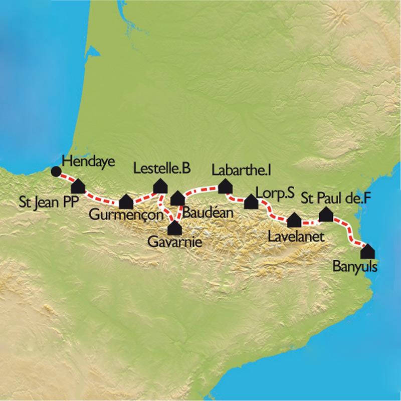 carte traversée des pyrénées à vélo Traversée des Pyrénées à vélo