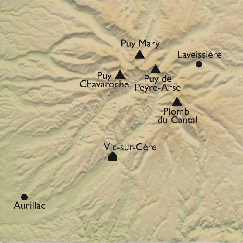Carte Authentique Cantal, volcans grandeur nature !