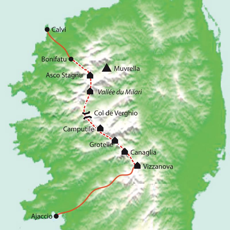 Itinéraire Corse, le GR20 Nord, de Vizzavona au cirque de Bonifatu, sac transporté
