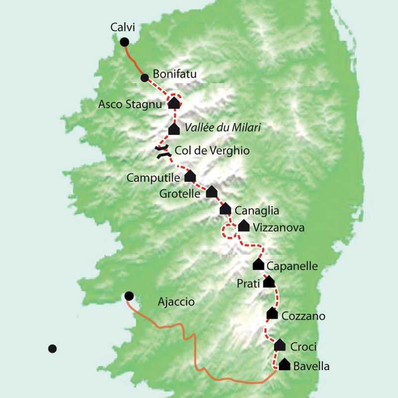 Carte Corse Bavella.Trek Gr20 De Bavella A La Muvrella Corse