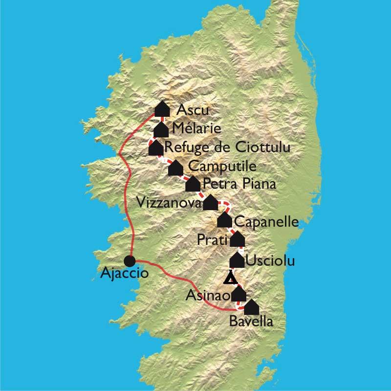 Carte Corse Bavella.Randonnee Gr20 Bavella A Asco Avec Guide Et Sans Portage