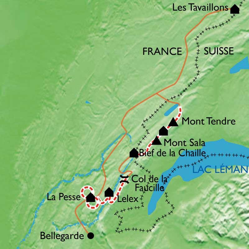 Itinéraire Les crêtes du Jura Sud