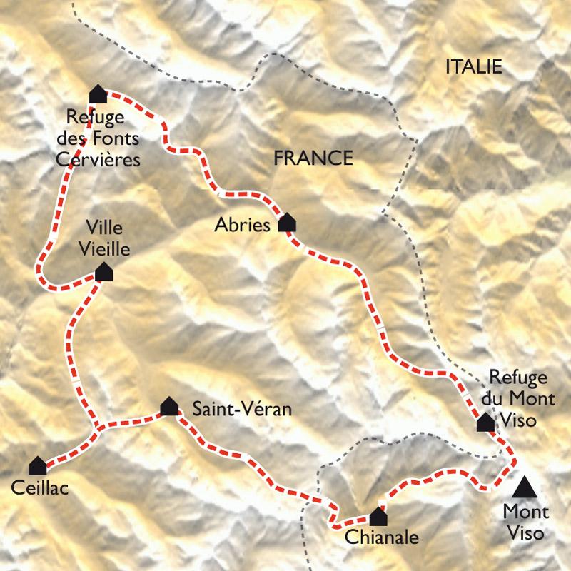 Tour Du Queyras Carte.Le Tour Du Queyras En Gites