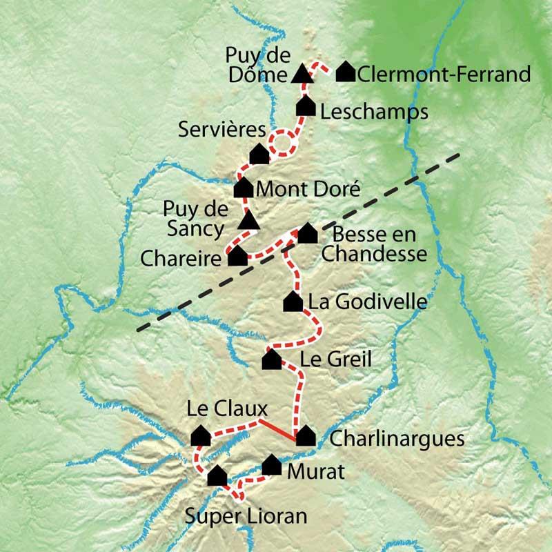 Carte Auvergne Le Parc Des Volcans Du Puy De Dme Au Cantal