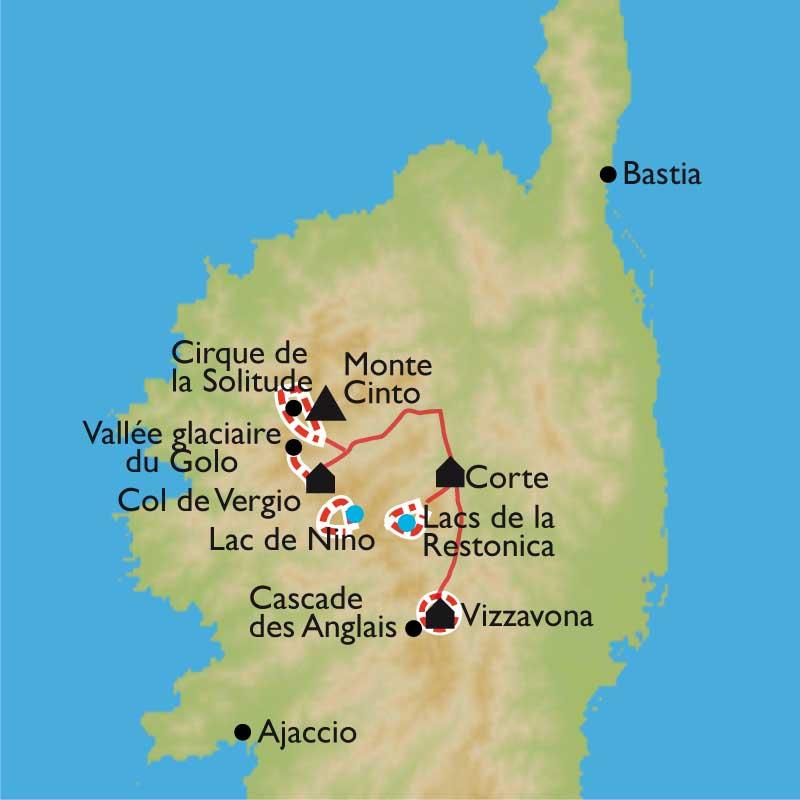 Carte Corse Nord.Randonnee Corse Decouverte Du Gr 20 Nord
