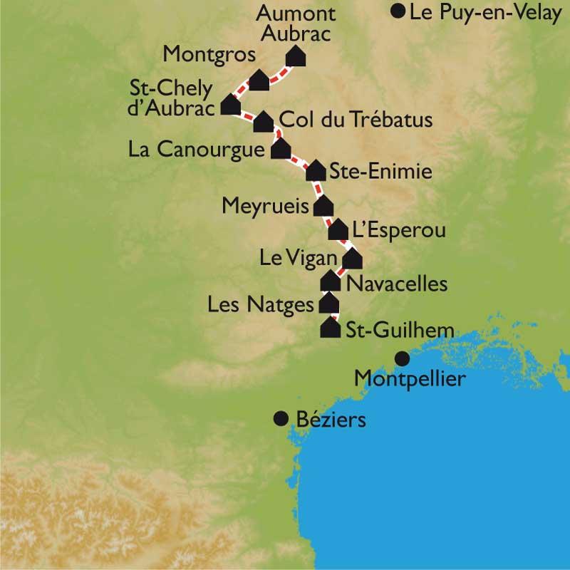 Itinéraire Le Chemin de Saint Guilhem le Désert entre Aubrac et Méditerrannée en 13 jours